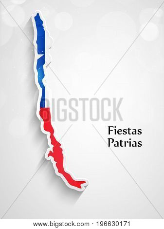 illustration of Chile map in Chile flag background with Fiestas Patrias text on the occasion of Chilean Fiestas Patrias