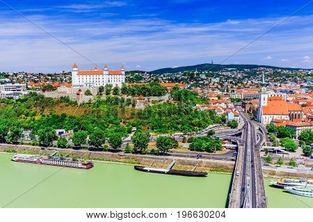 Bratislava Slovakia. View of the Bratislava castle St. Martin's Cathedral and Danube river.