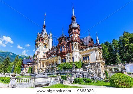 Peles Castle in Sinaia. Romania, Prahova county. poster