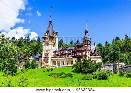 Peles Castle in Sinaia. Romania, Prahova county.