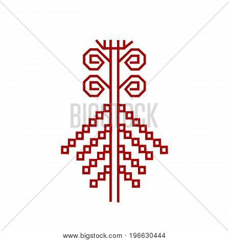 Red element of design textile finnish ornament