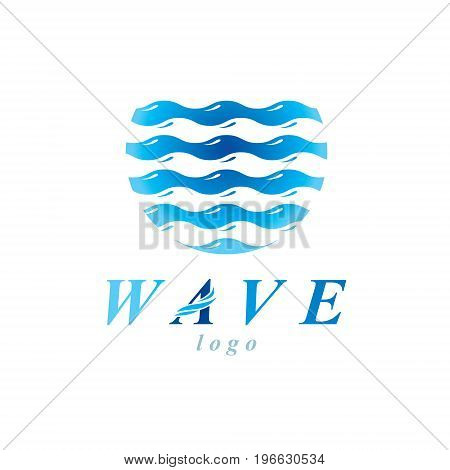 Fresh mineral water design vector emblem for use as marketing design symbol. Human and nature harmony concept.