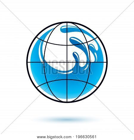 Global water circulation vector logotype for use in spa and resort organizations. Human and nature harmony concept.