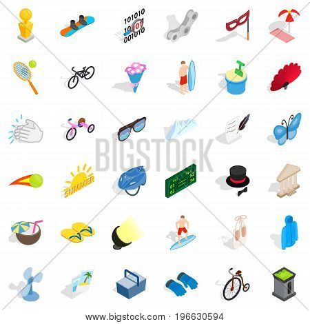 Summer game icons set. Isometric style of 36 summer game vector icons for web isolated on white background