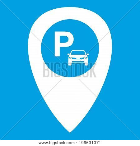 Map pointer with car parking icon white isolated on blue background vector illustration