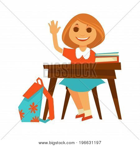 Cheerful girl in orange blouse and blue skirt sits at wooden desk with textbooks on top and backpack with flowers besides, and raises her hand to answer. Casual day at school vector illustration.