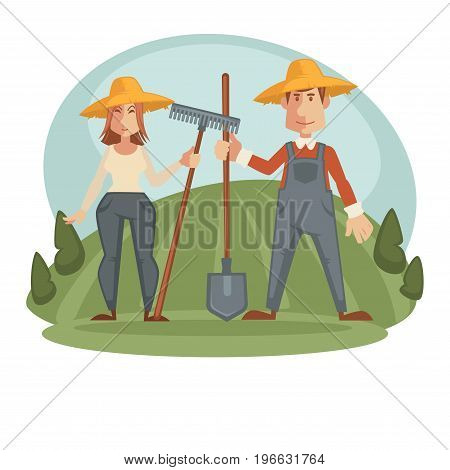 Male and female farmers in straw hats and clothes for work with big spade and rake on wooden sticks stand on wide green field with bushes on both side isolated vector illustration on white background.