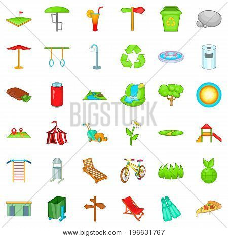 City park icons set. Cartoon style of 36 city park vector icons for web isolated on white background