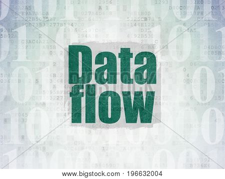 Data concept: Painted green text Data Flow on Digital Data Paper background with   Binary Code