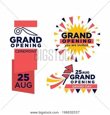 Grand opening ceremony on 25 august emblems set. Big thick signs with red ribbon, scissors outline and firework rocket and sparkles isolated vector illustrations. Invitations for important event.