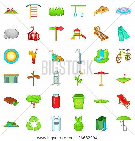 Summer park icons set. Cartoon style of 36 summer park vector icons for web isolated on white background