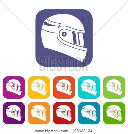 Racing helmet icons set vector illustration in flat style in colors red, blue, green, and other