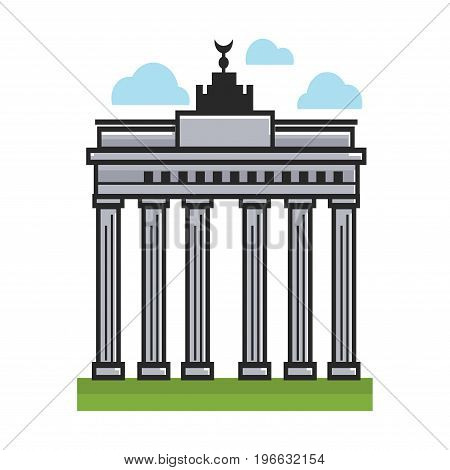 Vector illustration of high monument with columns on the grass.