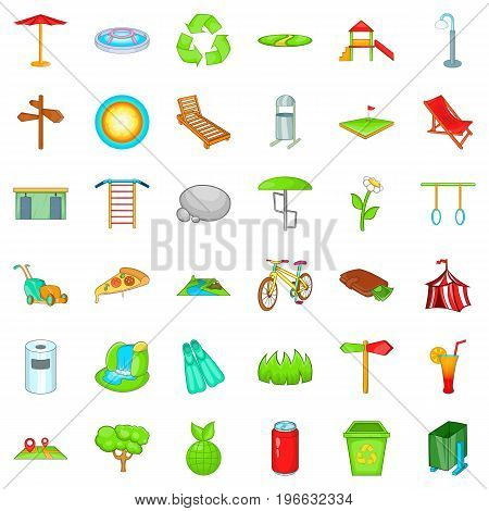 Rest park icons set. Cartoon style of 36 reat park vector icons for web isolated on white background