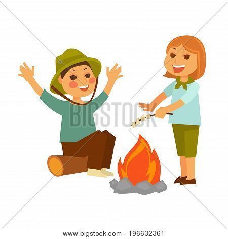 Children at picnic in forest with campfire and tasty marshmallows on branch isolated vector illustration on white background. Boy in hat sits on a log and girl with neckerchief stands by fire.