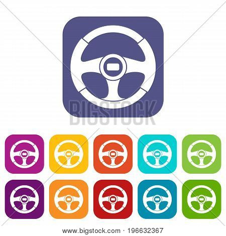 Car steering wheel icons set vector illustration in flat style in colors red, blue, green, and other