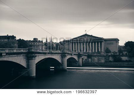Paris River Seine with Pont de la Concorde and Assemblee Nationale
