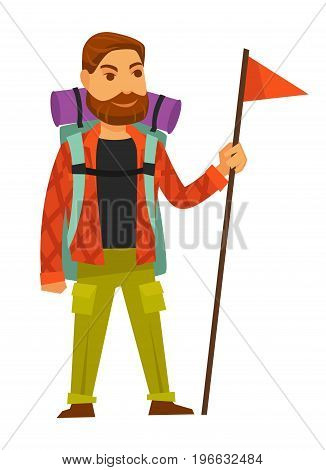 Bearded man in warm clothes for long hike with big rucksack, purple sleeping bag and red flag on long wooden stick isolated vector illustration on white background. Hiker with necessary equipment.