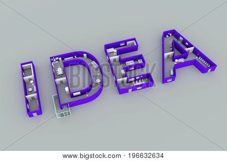 IDEA interior text white background 3d illustration