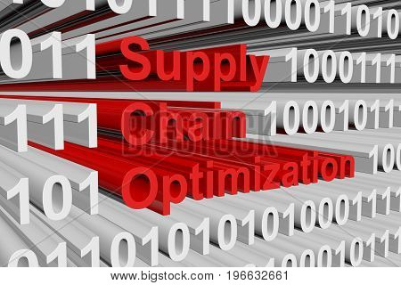 Supply chain optimization in the form of binary code, 3D illustration