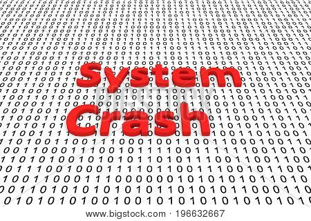 System crash in the form of binary code, 3D illustration