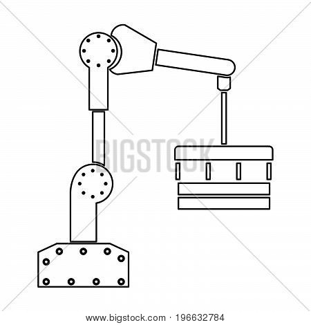 Robotic Hand Manipulator Black Color Path Icon .