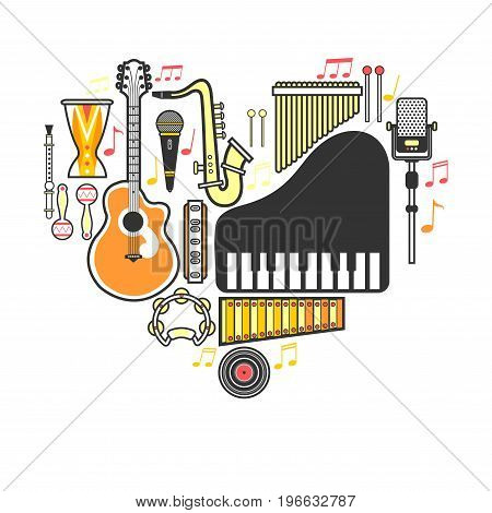 Music instruments and notes. Vector flat musical piano, jazz saxophone or rock guitar and drum percussion, singer microphone or player loudspeaker and folk flute or harmonica and vinyl record disk