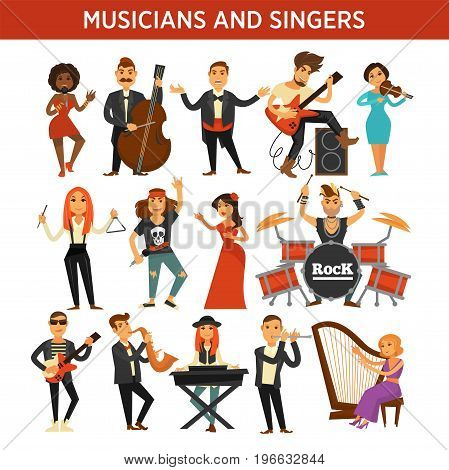 Musicians and singers of rock, jazz or orchestra band performers with musical instruments. Vector flat opera woman singing in microphone or paying violin and harp, drummer man or guitarist