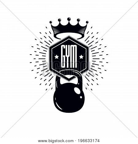 Sport logo for weightlifting gym and fitness club retro stylized vector emblem or badge. With kettlebell.