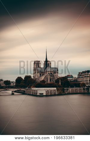 Paris city view with Notre Dame Cathedral over river Seine.