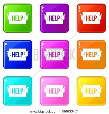 Help icons of 9 color set isolated vector illustration