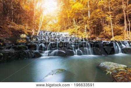 Beautiful Waterfall In Autumn Season, Sam Lan Waterfall