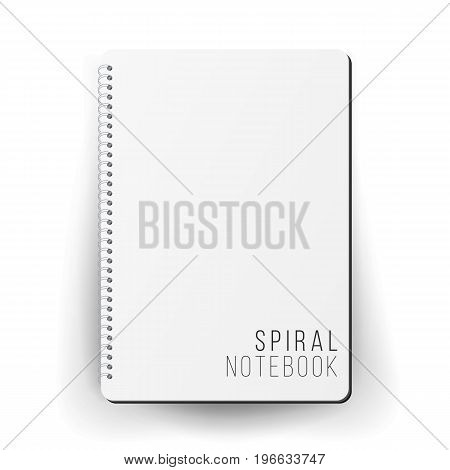 Spiral Empty Notepad Blank Mockup. Template For Advertising Branding, Corporate Identity. 3D Realistic Notebook Mockup. Blank Notebook With Clean Cover
