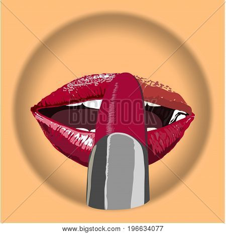 icon glamour Red lips with pomade make up on body colore plate.  Sexy biting red lips make pomade. Vector- illustration.