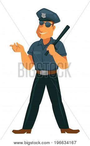 Cheerful police officer in modern sunglasses, navy blue uniform, cap with special sign holds black rubber bat isolated vector illustration on white background. Friendly public guardian at work.