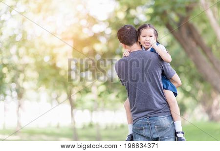 Father Carrying And Encourage His Daughter