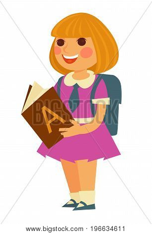 Cute little blonde schoolgirl in pink dress with small blue tie and big square backpack behind reads textbook with letter A on cover isolated cartoon vector illustration on white background.