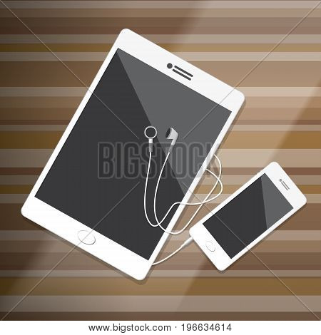 Tablet and Smartphone with Earphone on wood desktop Vector Illustration