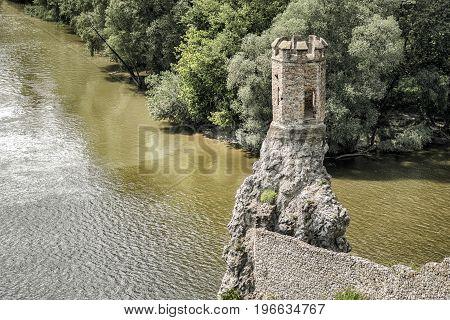 Ruins of Devin castle near city Bratislava Slovakia. Turret over river confluence Morava and danube