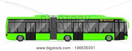Large Articulated Trolleybus. Green With Modern Design. Side View. Translucent Windows.