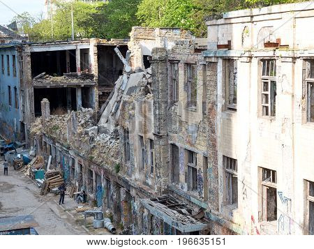 Odessa, Ukraine - May 17, 2017: Old Abandoned High-rise Building In The City Centre On Summer Day. S