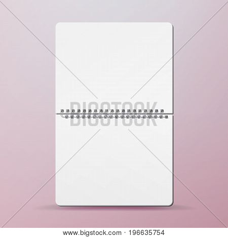 Realistic Note Template Blank. Spiral And Paper. Clean Mock Up For Your Design. Opened Notebook For Work And Taking Notes. Vector illustration