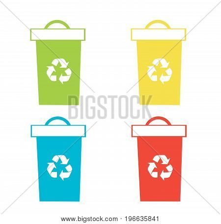 Set of recycling bins vector illustration on whitre