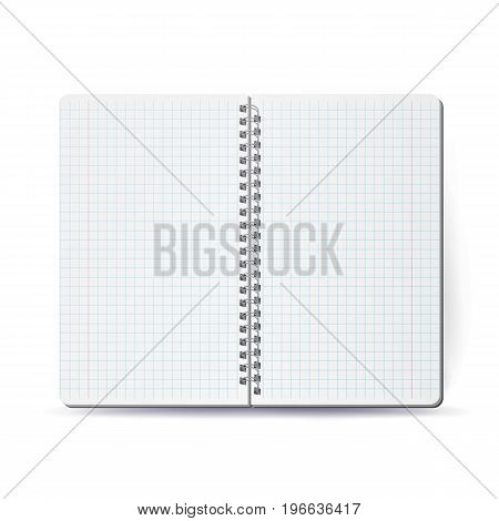 Opened Notepad Blank Vector. 3D Realistic Notebook Mockup. Blank Notebook With Clean Cover