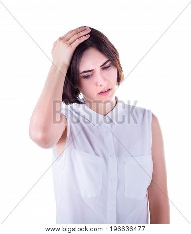 Close-up portrait of a business woman with a headache and with Illness, fever. Beautiful and young tired business woman with a headache, isolated on a white background.