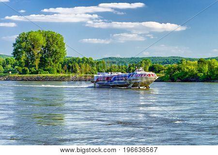 DEVIN SLOVAKIA - MAY 17: Fast ship on river Danube near city Bratislava on May 17 2017 in Devin
