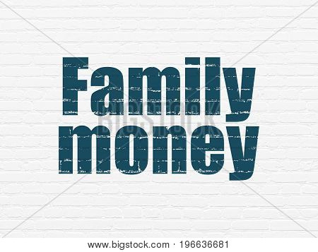 Money concept: Painted blue text Family Money on White Brick wall background
