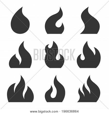 Fire Icon Set on White Background. Vector illustration