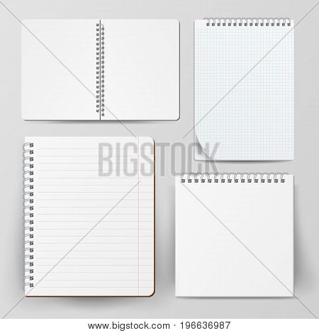 Spiral Empty Notepad Blank Mockup Set. Template For Advertising Branding, Corporate Identity. 3D Realistic Notebook Mockup. Blank Notebook With Clean Cover