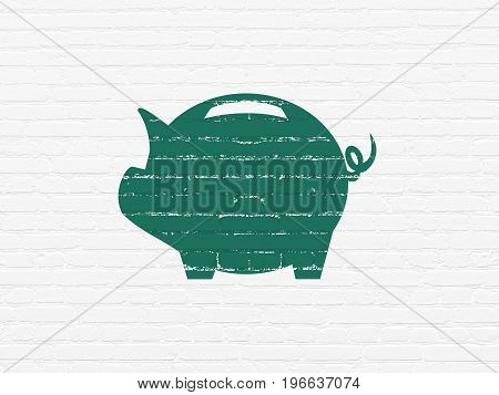 Currency concept: Painted green Money Box icon on White Brick wall background